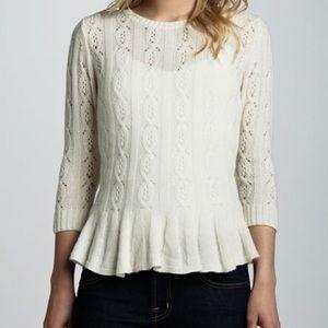 Autumn Cashmere Pointelle Peplum Sweater